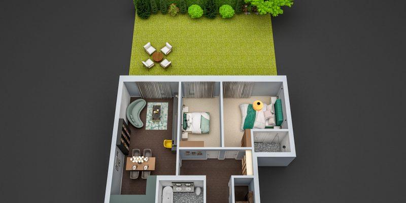 schita design apartament 3 camere copou iasi